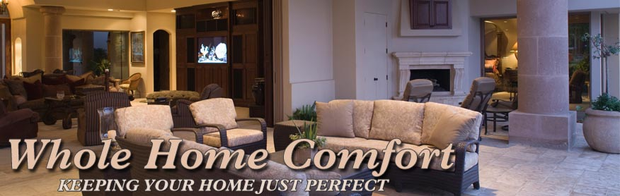 living room with text whole home comfort keeping your home just perfect